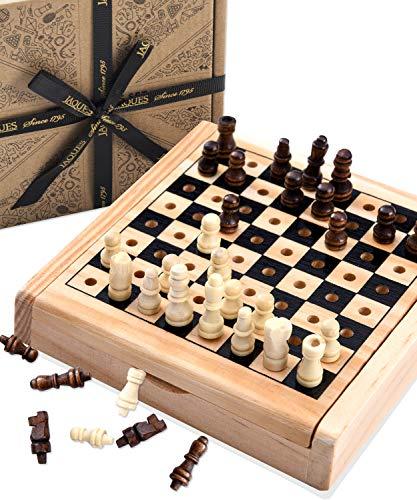 Jaques von London Mini Schach | Schach Spiel | Qualitäts Reiseschach | Schach Holz | Seit 1795.