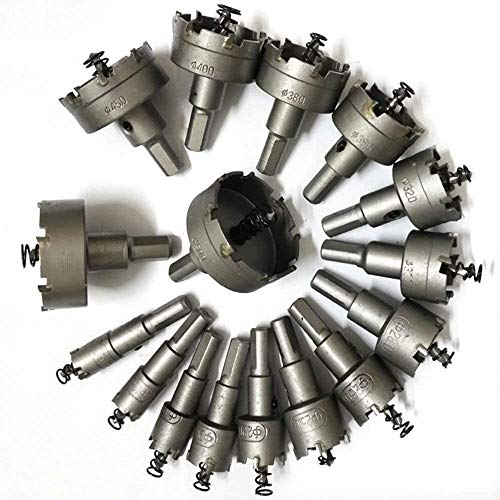 Ybaymy hole saw set, 23 pieces, multiple-tooth hole saw set, hole saw drill TCT carbide alloy, stainless steel, metal drill bit, drill bit, hole circular saw 16 mm - 100 mm.