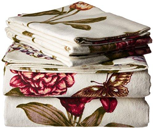 Tribeca Living Tribeca Living Bl200hsedssfu 200 Gsm Blossoms Printed Deep Pocket Flannel Sheet Set Full From Amazon Shefinds