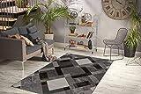 One Couture Teppich Modern Flach Flachflor Design Kasten Rauten Wohnzimmer Grau Taupe Wohnzimmerteppich Esszimmerteppich Teppichläufer Flur-Läufer, Größe:80cm x 150cm