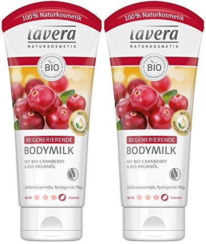 lavera Regenerierende Bodymilk Bio Cranberry und Arganöl. Zellerneuernde Pflege, Festigt die Haut, Body Milk Reife, Bio Pflanzenwirkstoffe, Natural und innovative, Körperpflege 2er Pack (2 x 200 ml)
