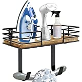 Ironing Board Hanger Wall Mount, Laundry Room Iron and Ironing Board Holder with Storage Shelf, Metal Wall Mount Ironing Board Holder with Large Storage Basket and Removable Hooks for Laundry Room