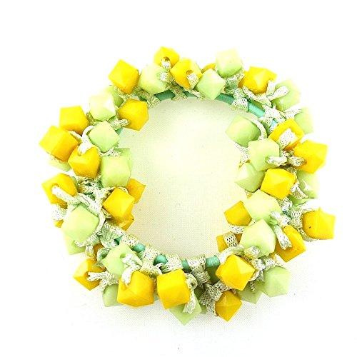 rougecaramel - Accessoires cheveux - Elastique cheveux ou bracelet perles - vert/jaune