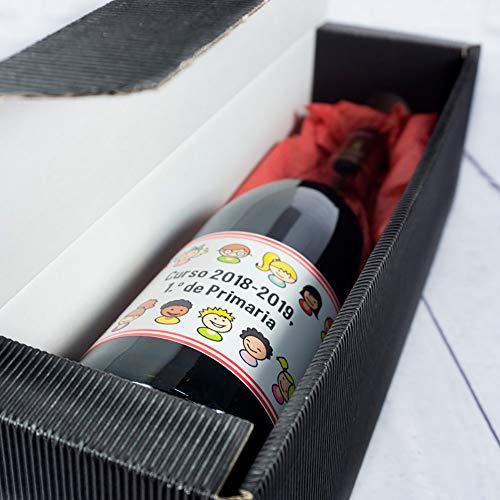 Calledelregalo Regalo Personalizable para Profesores y profesoras: Botella de Vino para profes Personalizada con dedicatoria (Botella 'Alumnos')