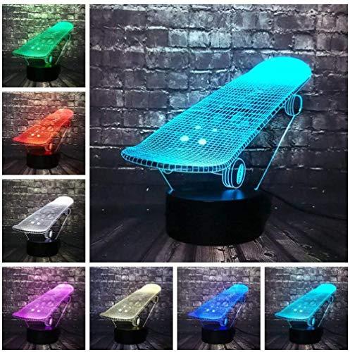 3D Illusion Nachtlicht Skateboard Optische Illusion Nachtlicht 7 Farben Change Touch und Fernbedienung LED Tisch Schreibtischlampe mit USB dekorative Fernbedienung für Jungen Mädchen Schlafzimmer G