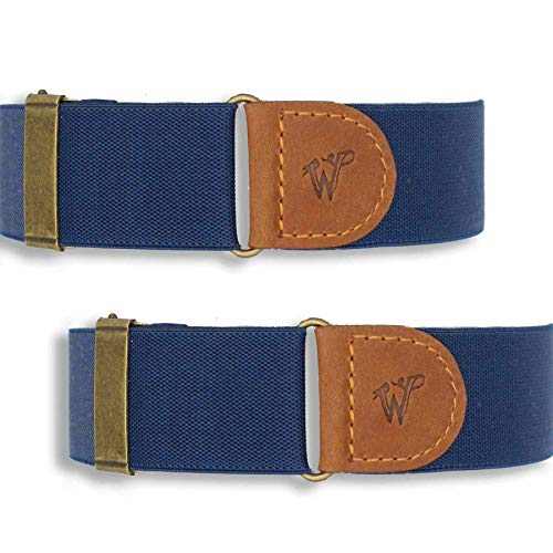 Wiseguy Mouwophouders - Marine blauw gestreept 3,5 cm breed, elastische verstelbare armbanden met camel bruin leder