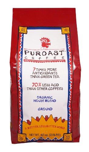 Puroast Low Acid Ground Coffee, Organic House Blend, High Antioxidant, 2.5 Pound Bag