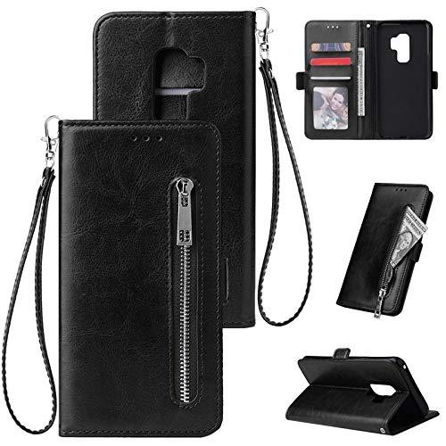 Happy-L Caso Samsung Galaxy S9 Plus, Estuche de Cartera de Cuero PU, Caja de teléfono Inteligente Horizontal Flip Style para Samsung S9 Plus (Color : Black)