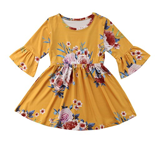 Toddler Kids Baby Girl Ruffle 3/4 Long Flare Sleeve Floral Party Dresses Clothes (Yellow, 3T)