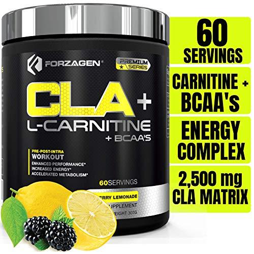Forzagen Cla + L Carnitine + Bcaa Powder - Bcaas Amino Acids with CLA Powder Increase Energy Pre Workout | 60 Servings | Keto Burn | Premium Cla Supplements (BlackBerry Lemonade)