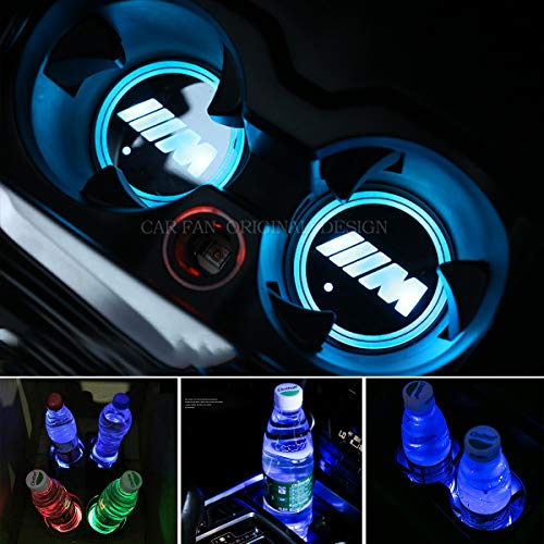 CAR FANS 2pcs fit BMW M LED Cup Holder Lights,7 Colors Changing USB Charging Mat Luminescent Cup Pad, LED Interior Atmosphere Lamp