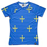 HOOPOE Camiseta Asturias Mujer, Manga Corta, Running, Gimnasio #PatriaQuerida Talla L