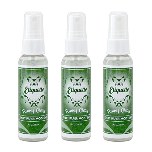 Toilet Paper Moistener Spray for Flushable Wipe Alternative - Organic Based Cleanser & Skin Care Down There; Contains Aloe, Witch Hazel, Vitamins and More [Pack of Three]