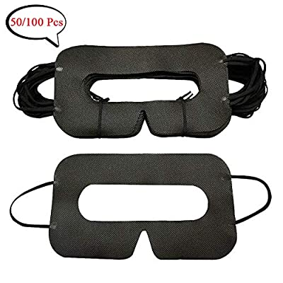 YinQin Universal Disposable VR Mask Cover 100 PCS Eye Mask Cover for VR, VR Sanitary Mask, VR Eye Cover Mask, Virtual Reality Mask Cover Pad (Black)