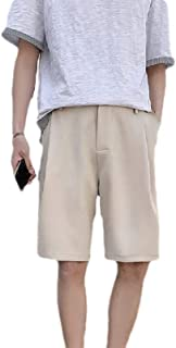 MogogN Mens Flat-Front Solid Colored Pockets Ruched Relaxed-Fit Jogger Gym Shorts