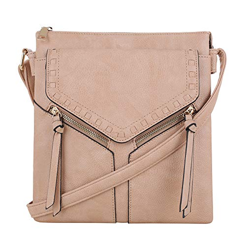 Double Compartment Purse Lightweight Medium Crossbody Bag with Multi Pocket | Light pink