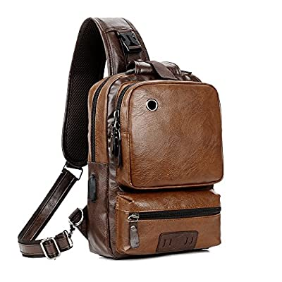 Men Vintage PU Leather CrossBody Sling Bag Large Capacity Casual Backpack USB Charge (Largebrown) by