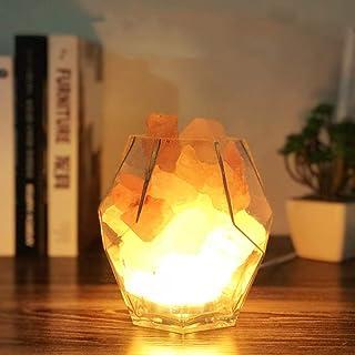 Tccic Himalaya Lámpara de sal de cristal natural de alta calidad, luz de noche USB de cristal geométrico, lámpara de mesa LED para dormitorio luz blanca cálida