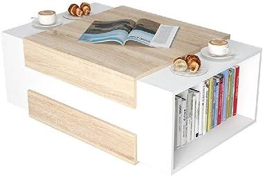 Homemania Tavolino da Caffe' Simon, Per Salotto, Soggiorno, Ufficio-Tavolo D'Appoggio, Bianco (Bianco/Legno Chiaro), 60 x 35