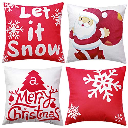 Red White Velvet Christmas Pillowcase: Merry Christmas Snowflake Holiday Pillow Covers with Santa Prints Cushion Cover Short Plush Decoration for Sofa Indoor Outdoor Bed Car, 18 x 18 Inches, 4PC