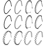 12 Pieces Metal Hair Bands Spring Wavy Headbands Unisex Black Hair Hoop Slicked Back Headband for Women Men Sports (Novel Style)
