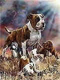 ZYYCJ DIY Diamant Malerei Pit Bull Terrier Hund Vollrunde Bohrer Strass Stickerei Mosaik