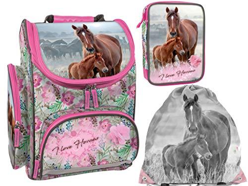 Pferd Pferde Set Schulranzen Schulranzen, gefüllte Federmappe, Turnsack I Love Horses Flower Print
