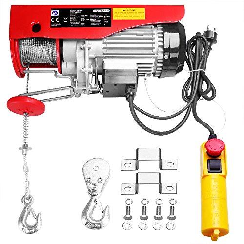 Monzana® Seilzug Seilwinde elektrisch - Tragkraft von 300kg bis 600kg - 1000W - Hebehöhe 12m - Stahlseil 12m - Modellwahl 125kg bis 800kg