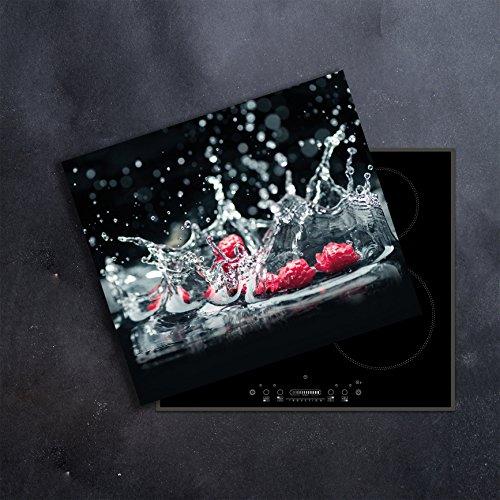 DAMU | Ceranfeldabdeckung 1 Teilig 60x52 cm Herdabdeckplatten Obst Schwarz Elektroherd Induktion Herdschutz Spritzschutz Glasplatte Schneidebrett