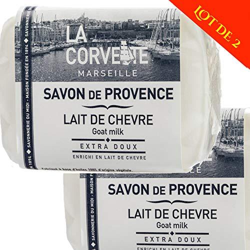 La Corvette - Lot de 2 savons de Provence 100G Lait de Chèvre BIO frais 100% naturel - soit 2 X 100G - Savon Exfolliant contre l'acné, soulage l'eczéma