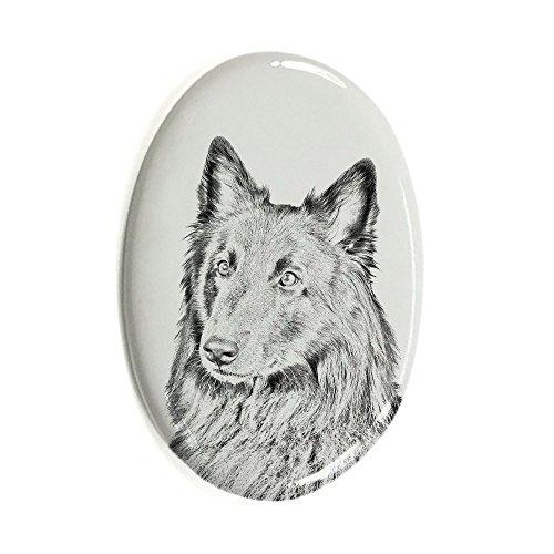 ArtDog Ltd. Belgischer Schäferhund, Oval Grabstein aus Keramikfliesen mit Einem Bild eines Hundes