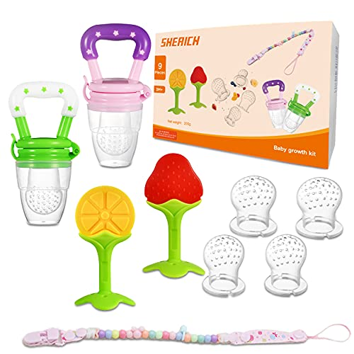 SHERICH 9 Piece Set of Silicone Baby Teether Baby Teething Toys Soothing Massage Gum Pain Suitable for 3M+ BPA Free a Newborn Fruit Feeder