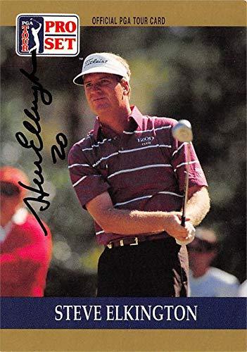 Steve Elkington autographed golf card (PGA, Houston Cougars) 1990 Pro Set #10 - Autographed Golf Equipment