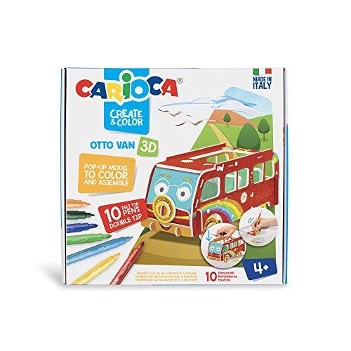 Carioca CREATE & COLOR 42987 - OTTO VAN 3D. Modello Pop-Up da colorare e costruire con 10 Pennarelli Doppia Punta