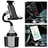 Cell Phone Car Mount TOOVREN Cup Phone Holder Adjustable Neck Car Cupholder Cradle iPhone Car Mount for Tablet Cell Phone iPhone 12 Pro Max/11/Xs/Xr/8/7 Plus/Samsung Note 10/ Galaxy S10/S9