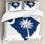 HUNKKY - Juego de funda de edredón de Carolina del Sur, diseño de bandera del estado de Palmetto y mapa Sabal Palmera y Media Luna California King, azul cobalto