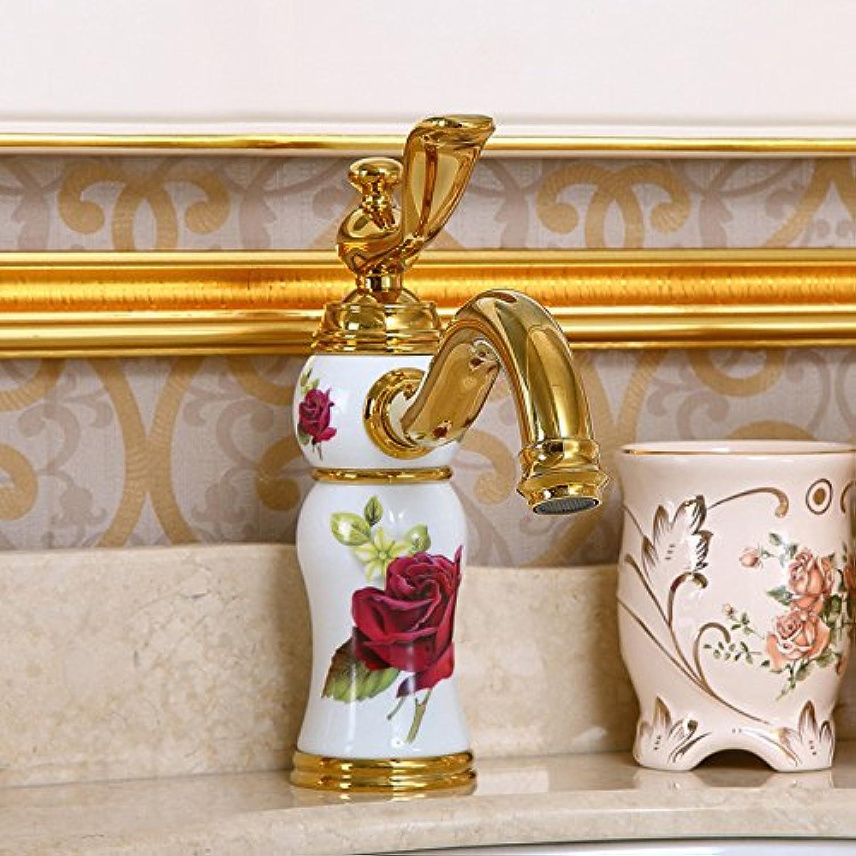 GFEI Bathroom faucet   all copper hot and cold antique faucet   ceramic jade,A,Ceramic safflower