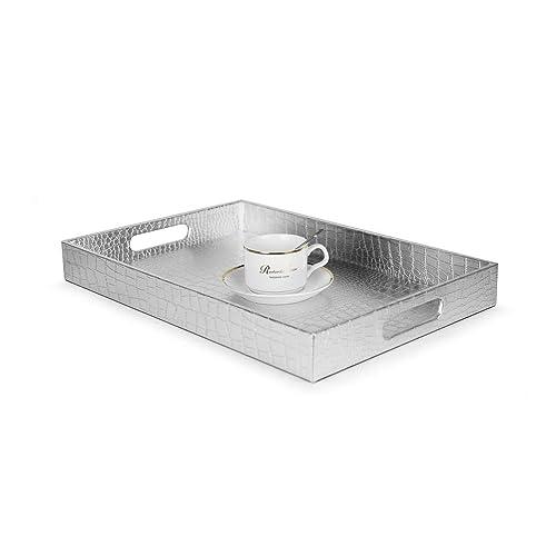 Modern serving tray Club Beautiful Modern Silver 18 Amazoncom Modern Serving Tray Amazoncom