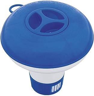 Earleye0 Diffuseur Flottant Grand modèle Bleu Distributeur de Chlore Évents de débit Ajustables & Bouchon de Verrouillage,...