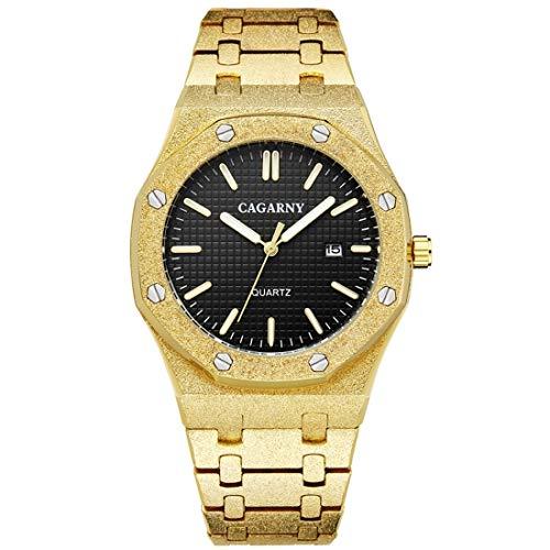Reloj de la Nave de Reloj de Cuarzo para Hombre, Reloj de Acero Inoxidable Reloj de Correa de Metal Reloj octágono Reloj de Movimiento Dual Reloj Reloj Reloj Reloj Reloj de Reloj (Color : Color1)