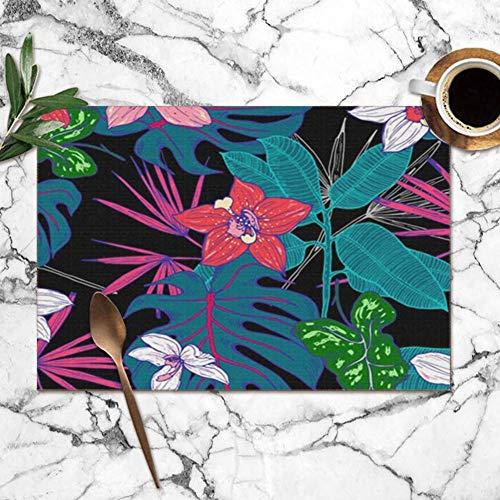 Potonderzetter, wasbaar, exotische tropische achtergrond, roze, groen, turquoise, groen, voor de eettafel, dubbele stof voor het bedrukken van dekens van polyester, voor de keuken, 6 tafellopers, 12 x 18 inch