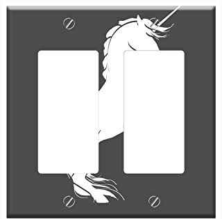 Switch Plate Double Rocker/GFCI - Unicorn Silhouette Rearing Horse Black And White