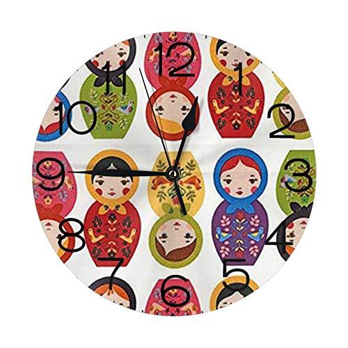 GOSMAO 25cm (9.8') Redondo Reloj de Pared Silencioso No Tick Tack Ruido Reloj de Pared Muñecas de anidación de matrioska Rusa