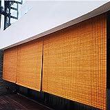 LXLA Persianas enrollables para Exteriores - Persianas de Madera de Estilo japonés con 90% de protección UV, 100 cm / 120 cm / 130 cm / 140 cm / 150 cm de Ancho, Amarillo Jengibre