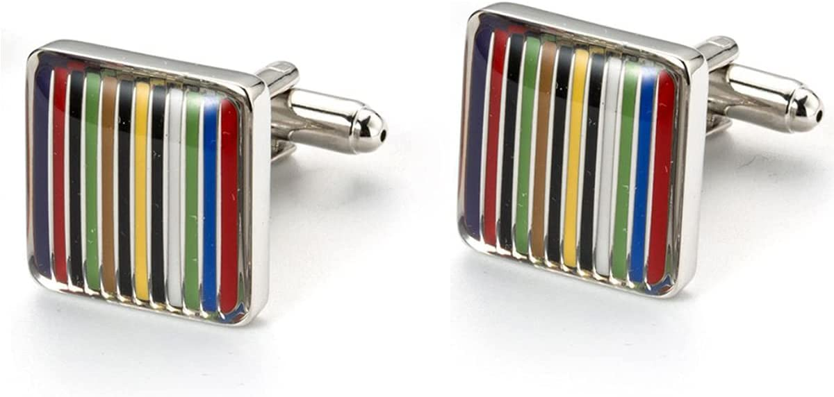 BO LAI DE Men's Cufflinks Rainbow Stripes Square Cufflinks Shirt Cufflinks Suitable for Business Meetings, Prom Events, with Gift Box