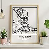 Blade Palermo Stadtplan nordischen Stil schwarz und weiß.