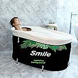 Foldable Bathtub Portable Soaking Bath Tub,Eco-Friendly Bathing Tub for Shower Stall Home Spa (Green Leaf)