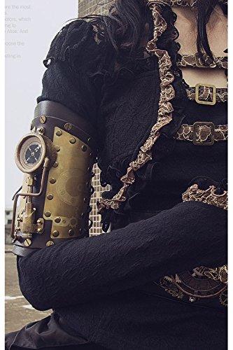 Steampunk Leder Armstulpe mit Schnürung von RQ-BL mit Kompass und Beleuchtung, Farbe:Dunkelbraun
