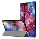 Shinyzone Hülle Kompatibel mit Amazon Fire HD 10 Tablet (9. Gen 2019 und 7. Gen 2017 Model),Slim PU Leder Magnetisch Flip Ständer Schutzhülle mit Auto Aufwachen/Schlaf,Galaxy