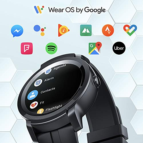 TicWatch E2 Smartwatch, GPS Waterproof 24 Hours Heart Rate Monitor, Running on Wear OS by Google, Black